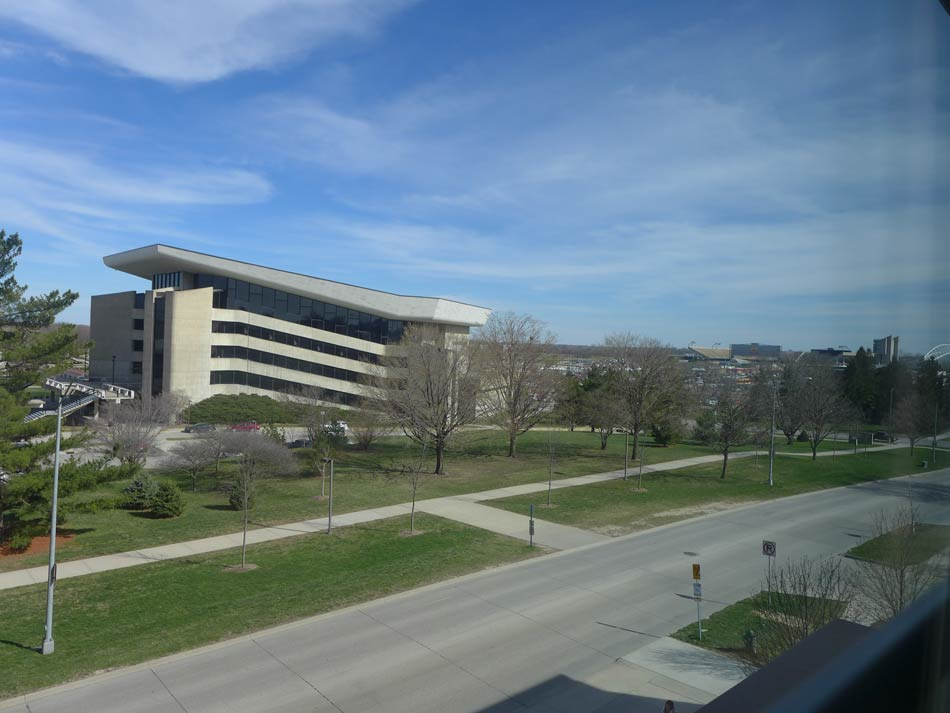 View of Iowa State campus from Beach View Apartment